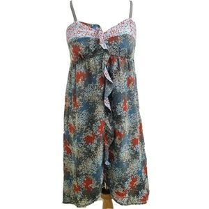 Kensie Floral Ruffle Front Empire Waist Dress D35